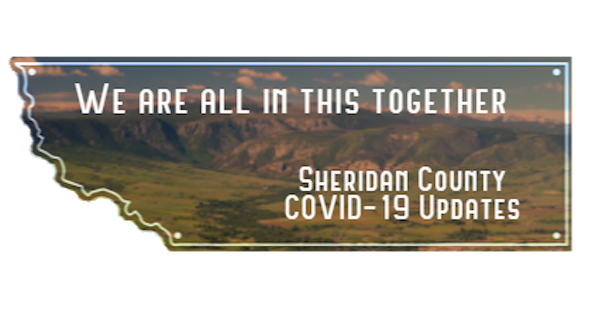 "Sheridan County COVID-19 Logo, ""We are all in this Together. Sheridan County COVID-19 updates."""